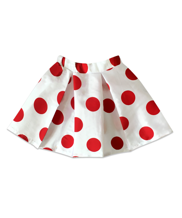 Addy BIG, FUN OVERSIZED RED POLKA DOTS on BIG, FUN OVERSIZED BOX PLEAT WHITE TAFFETA SKIRT