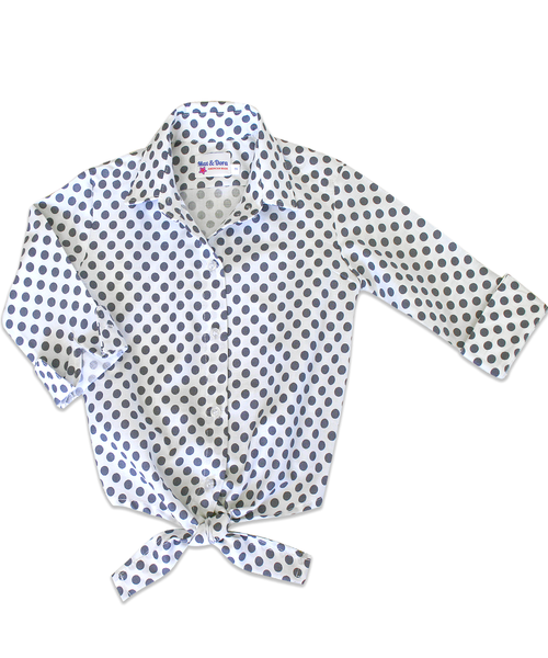 Annie Dot Tie Front Shirt with Charcoal Polka Dots
