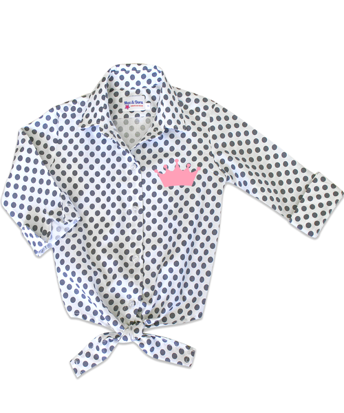 Annie Charcoal Polka Dot Tie Front Shirt with Flocked Pink Crown