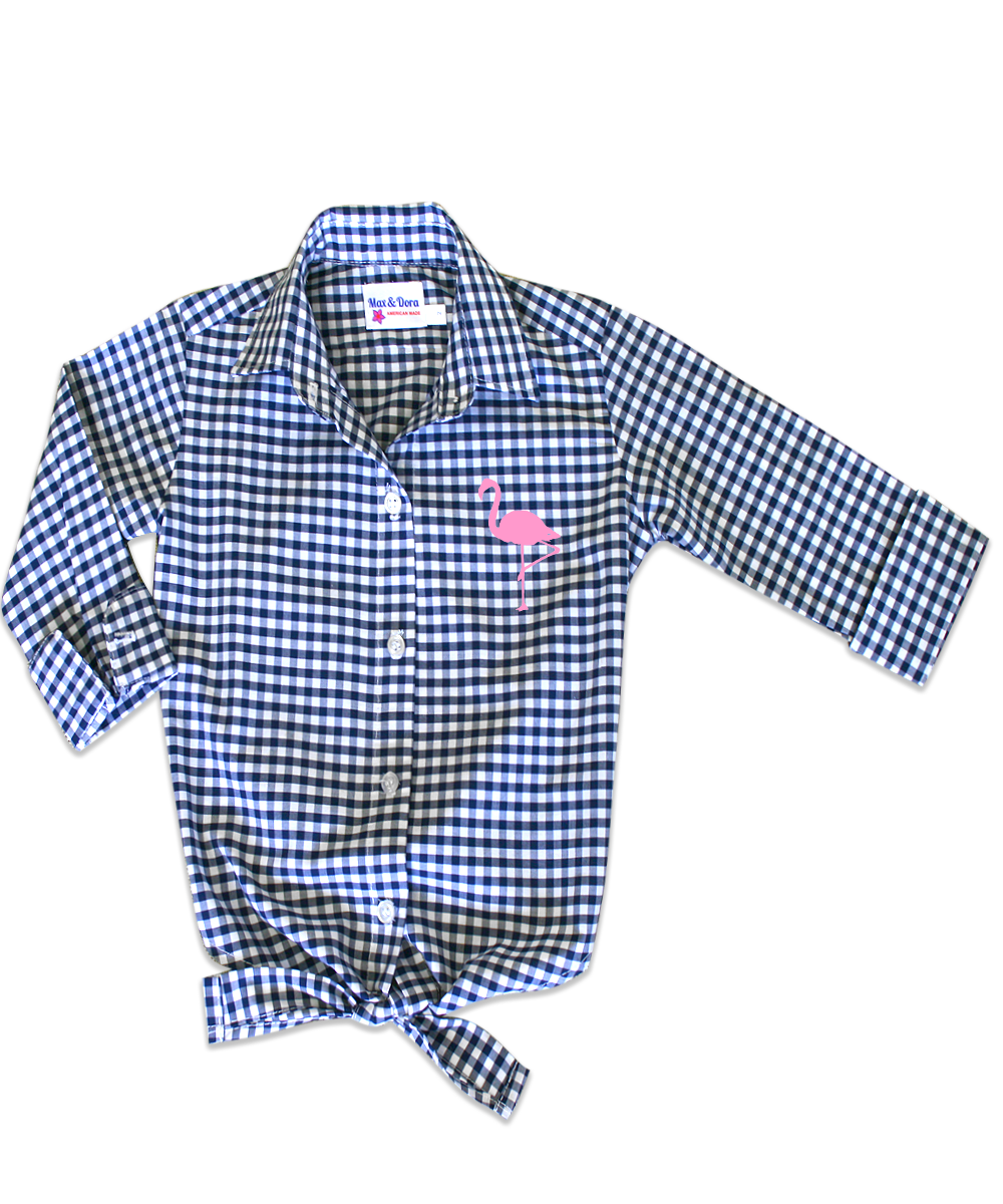 Annie Navy Check Tie Front Shirt Pink Flocked Flamingo