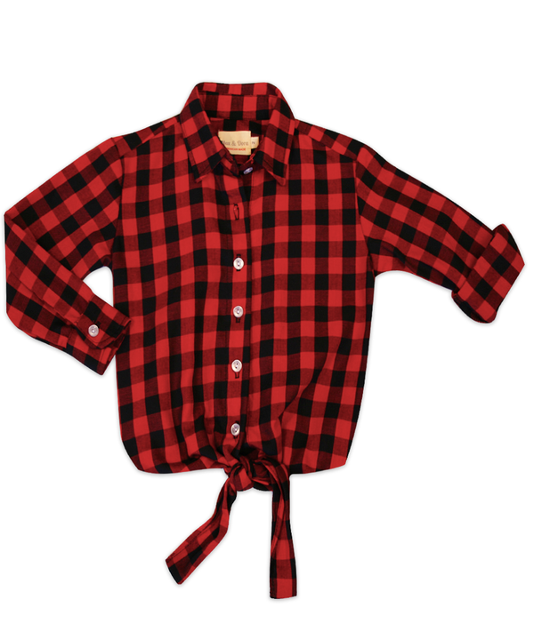 Annie Tie-Front Black & Red Check Shirt