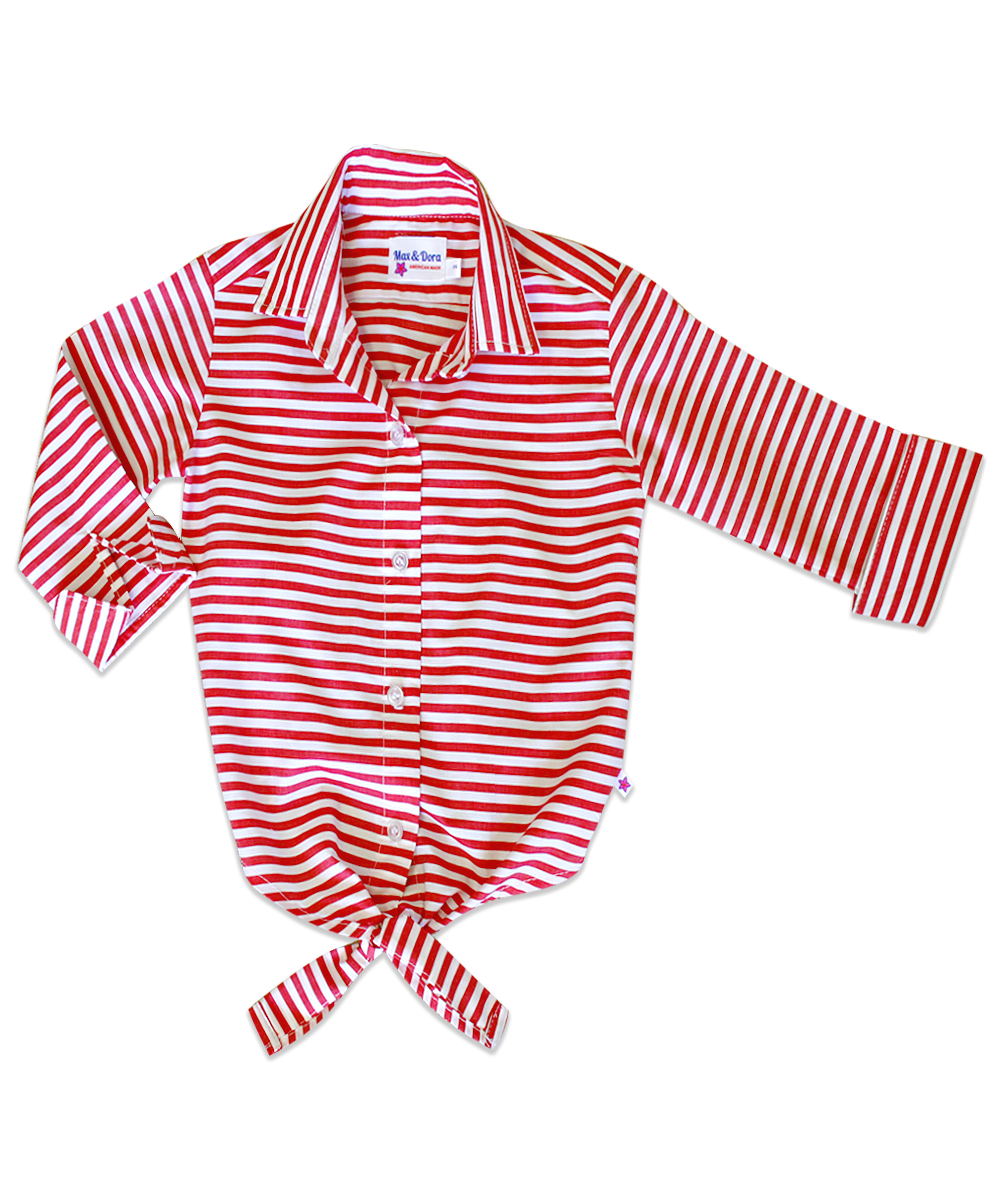 It's Back!!!  Annie Red Stripe Tie-Front Shirt