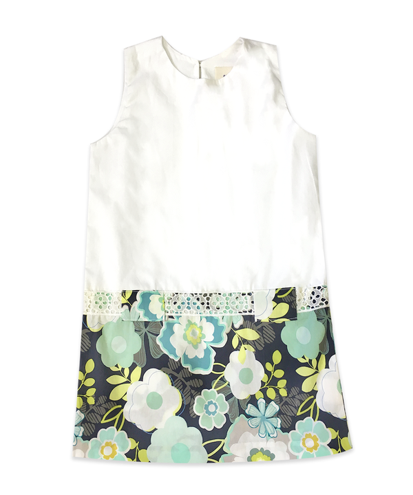 Arielle White and Navy Floral Drop Waist Dress