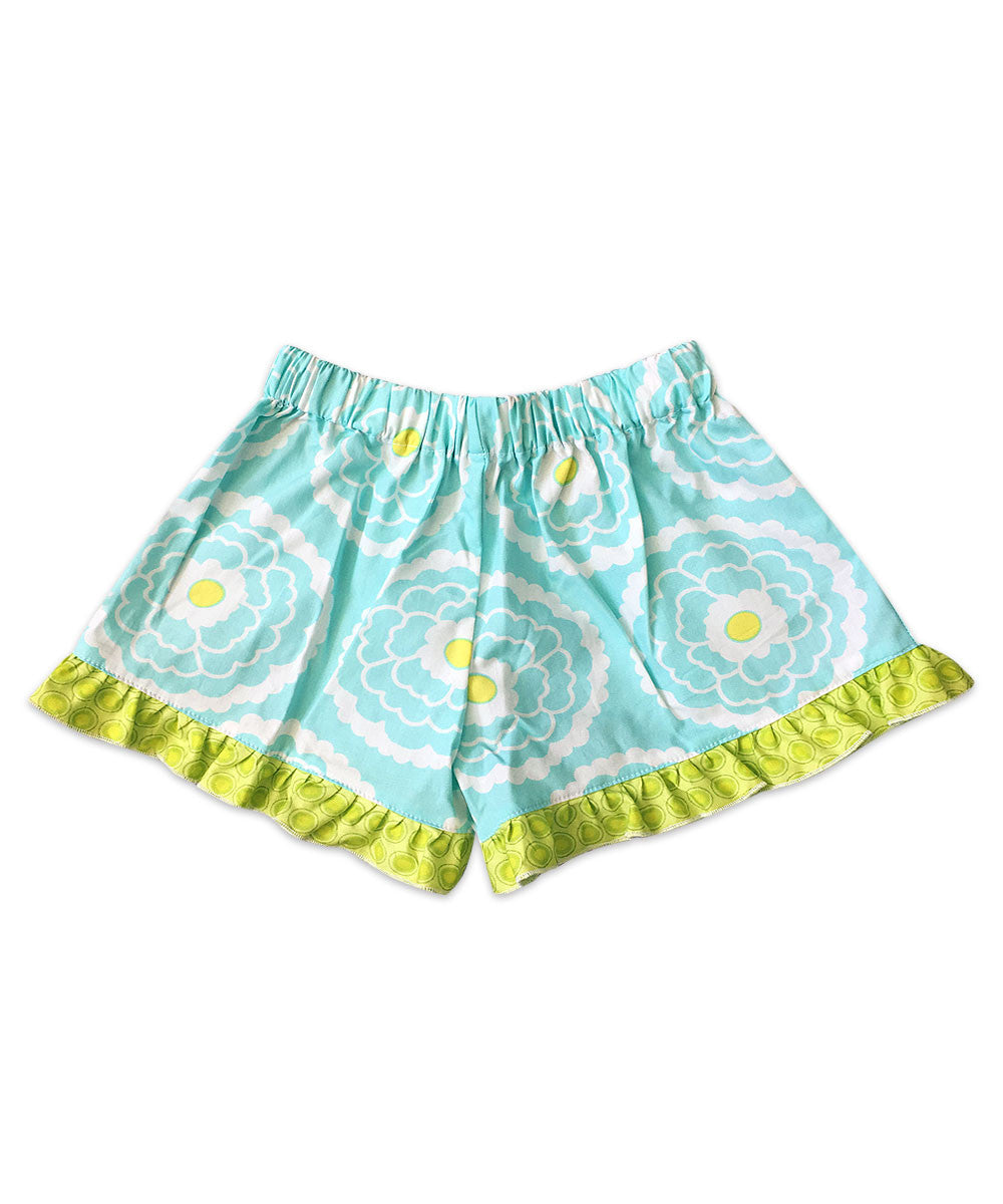 Bella Aqua Floral with Circle Dot Ruffle Boxer Short