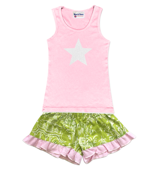 White Sparkle Star Embellished Jersey Tank Top and Bella Dark Green Toile Boxer Short Set