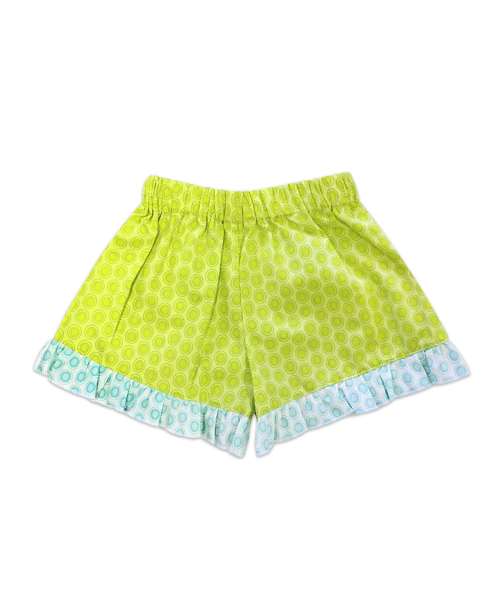 Bella Lime Green Circle Print with Blue Circle Print Ruffle Boxer Short