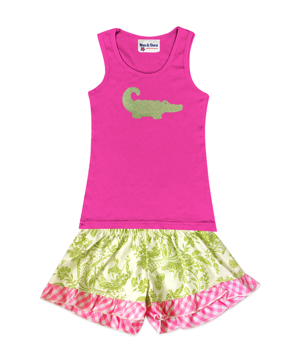 Green Sparkle Alligator Embellished Jersey Tank Top and Bella Light Green Butterfly Toile Boxer Short Set