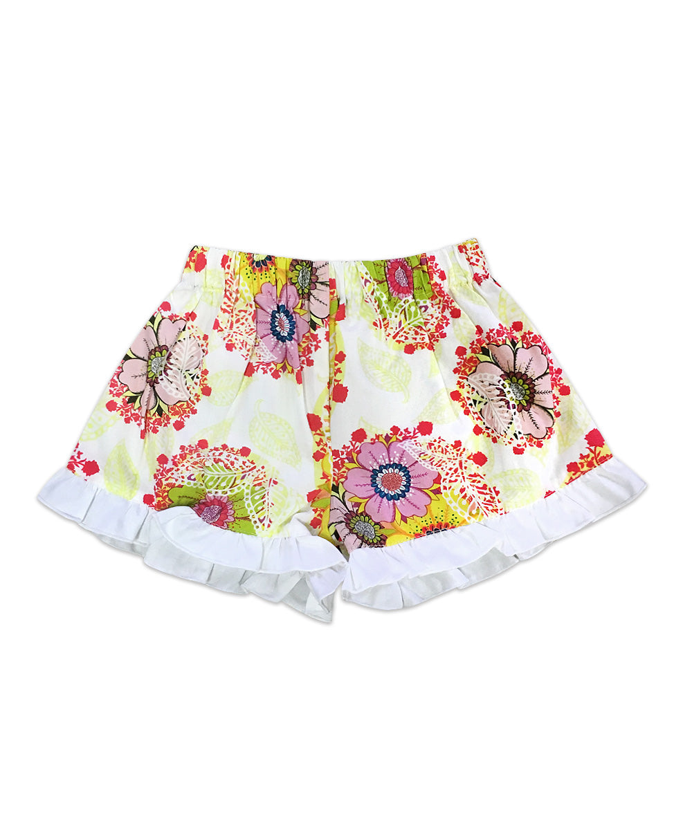 Bella Multicolor Floral with White Ruffle Boxer Short