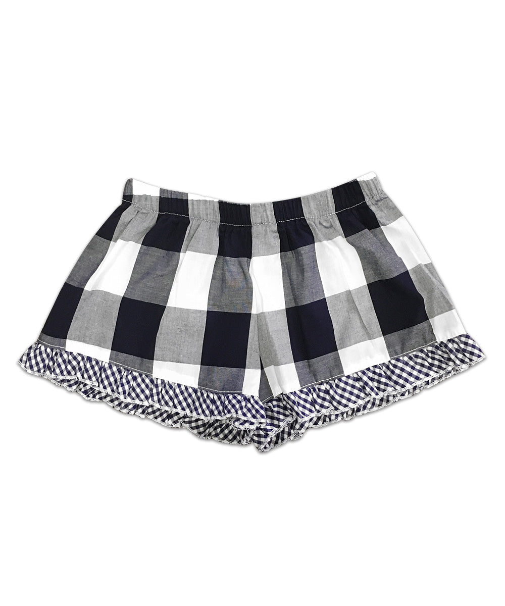 Bella Navy Buffalo with Navy and White Check Ruffle Boxer Short