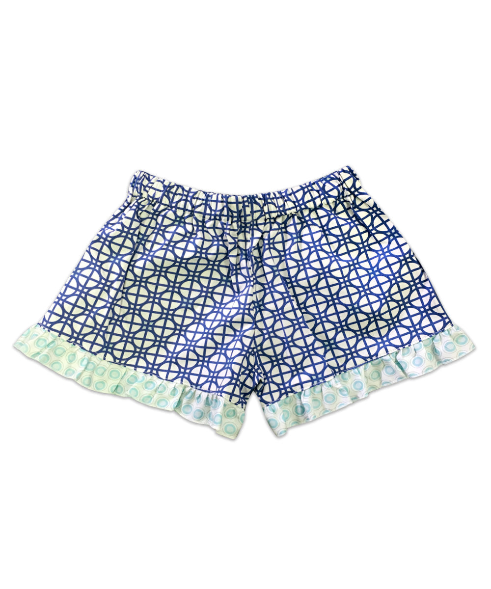 Bella Navy Circle Print with Aqua Circle Print Ruffle Boxer Short