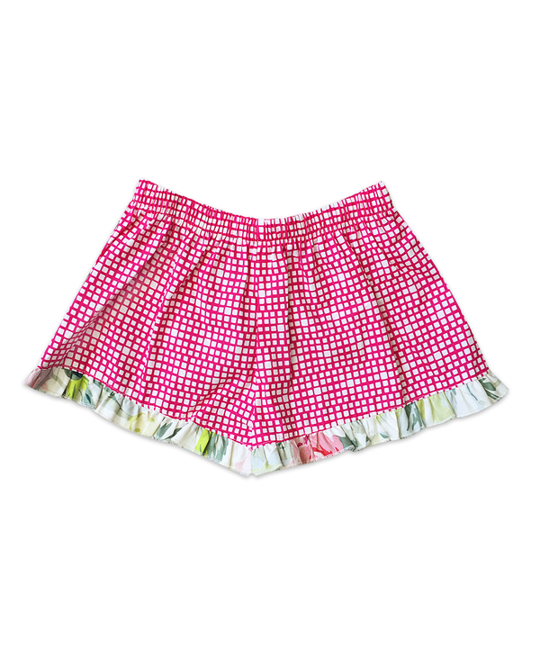 Bella Pink and White Cobblestone Print w/ Floral Ruffle Boxer Short