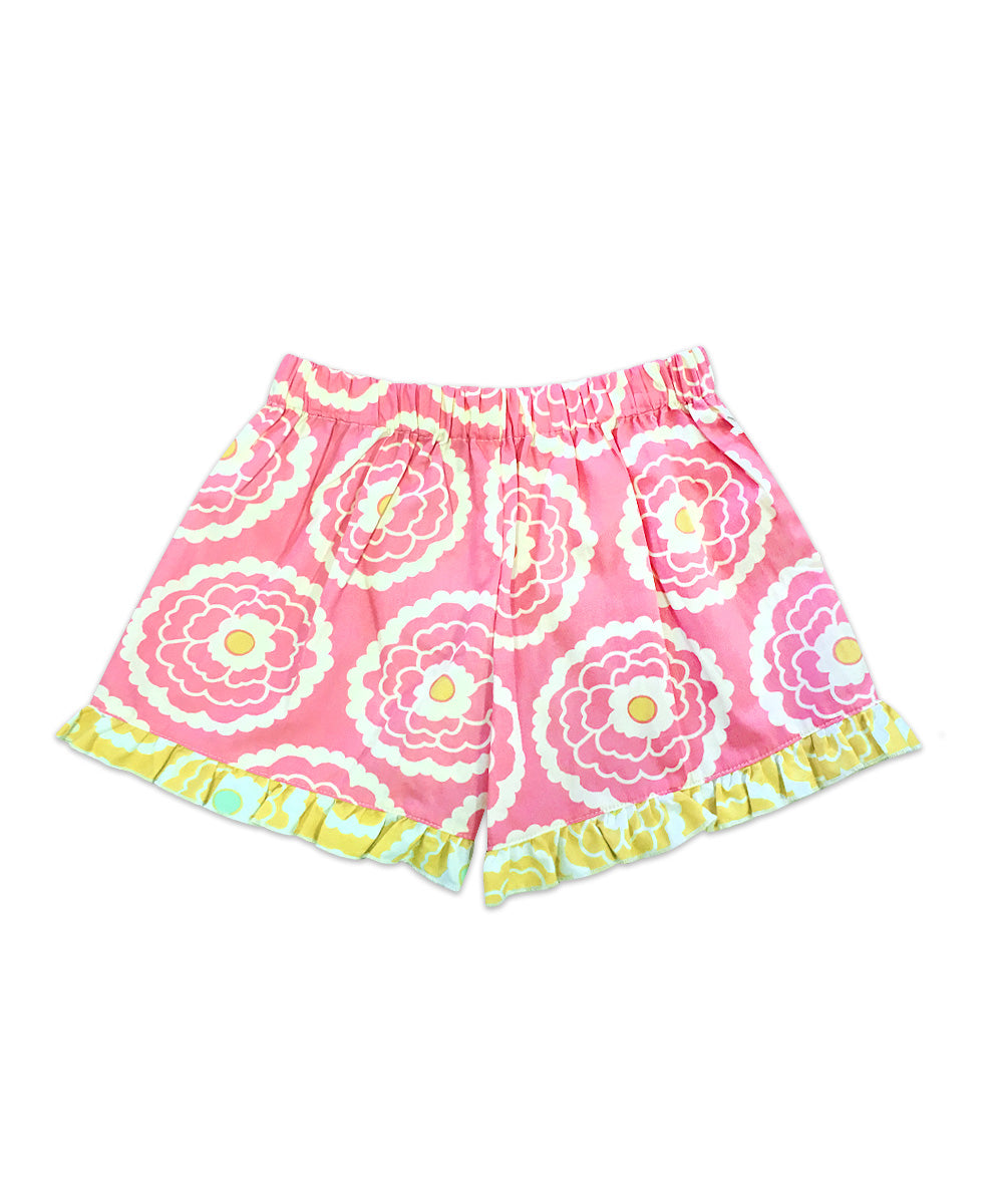 Bella Pink Floral with Yellow Floral Ruffle Boxer Short