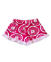 Bella Boxer Short in Large Pink Floral with Pink Polka Dot Ruffle