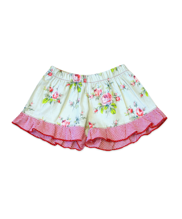 Bella Rose Floral Red Gingham Boxer Short