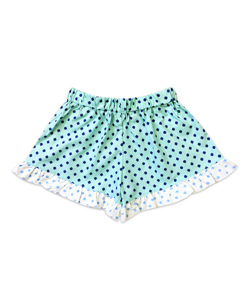 Bella Aqua with Navy and Baby Blue Dot Ruffle Boxer Short