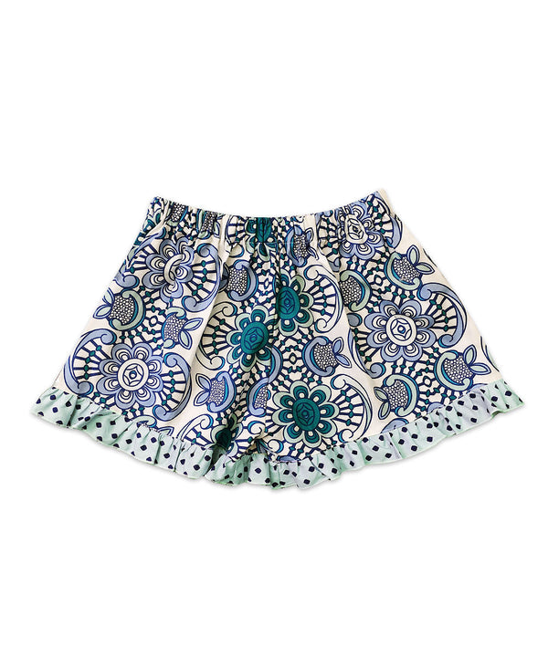 Bella Blue and White Floral w/ Blue Dot Ruffle Boxer Short