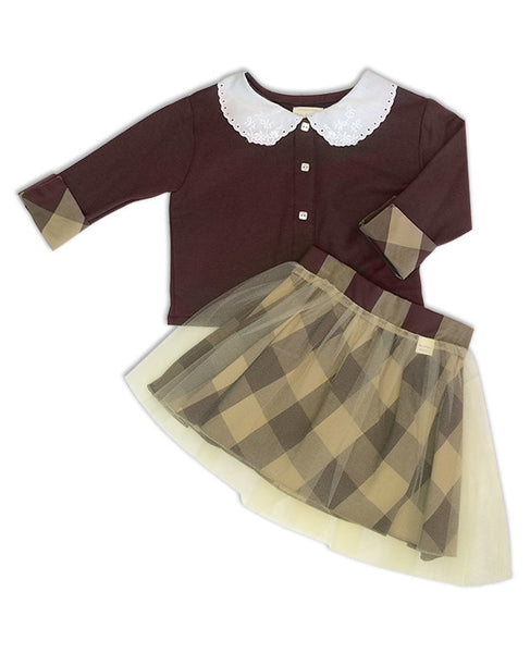 Regan Reversible Brown Buffalo Check Tutu Skirt