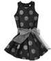 Cade Black Taffeta with Large Silver Coin Dots Classic Twirly Party Dress