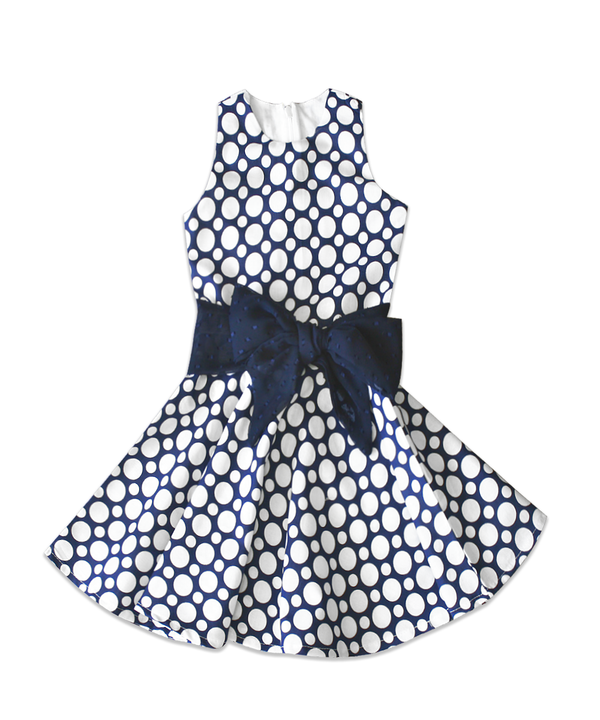 Cade Dress Navy with White Dots and Contrast Bow