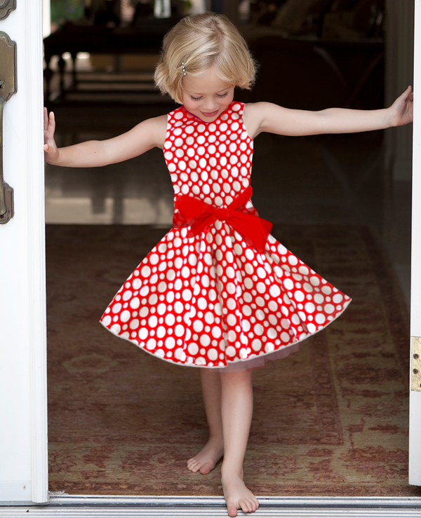 Cade TWIRLY Party Dress Red with White Dots