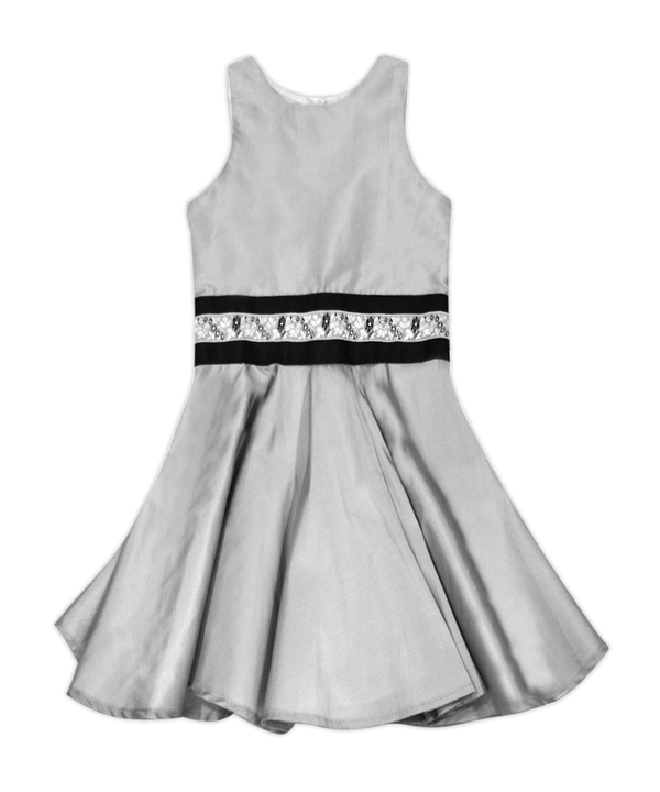 Silver Organza Cade Holiday Dress
