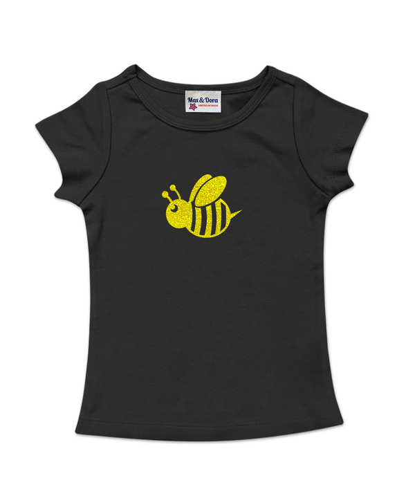 Black Cap Sleeve Yellow Sparkle Bee