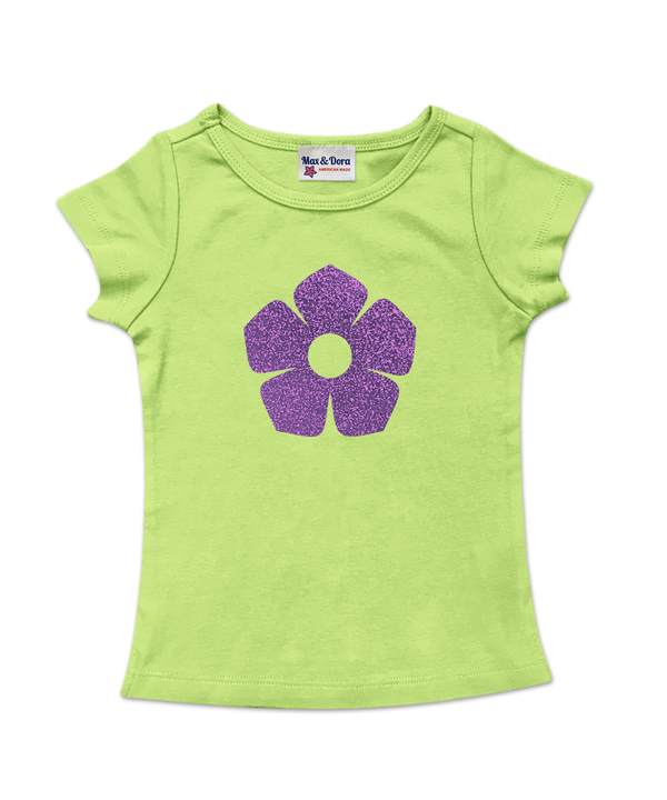 Lime Green Cap Sleeve Purple Sparkle Flower Tee