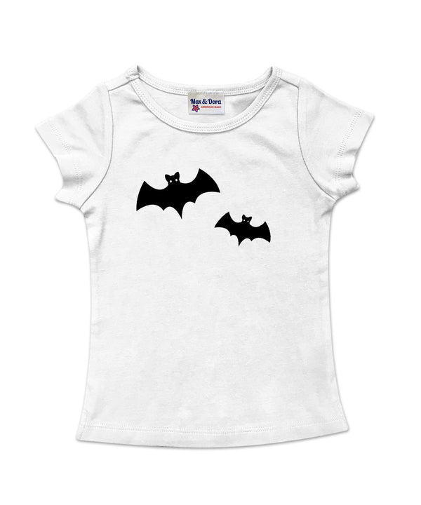 White Cap Sleeve Halloween Tee with Black Bats