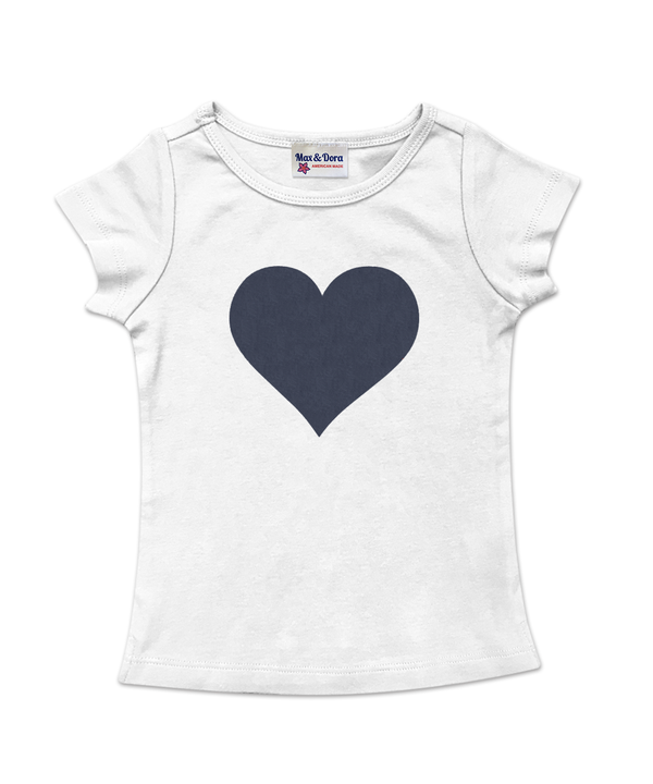 Cap Sleeve Denim Heart Tee Available in 5 Colors