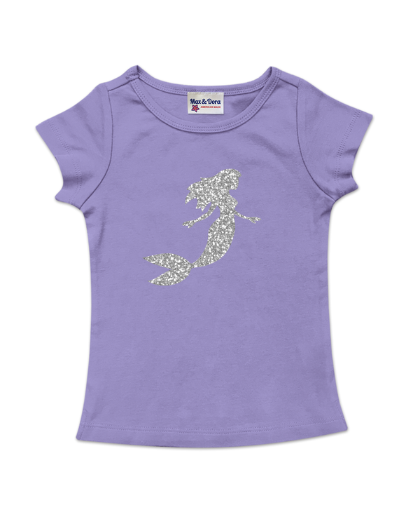 Purple Cap Sleeve Silver Sparkle Mermaid Tee