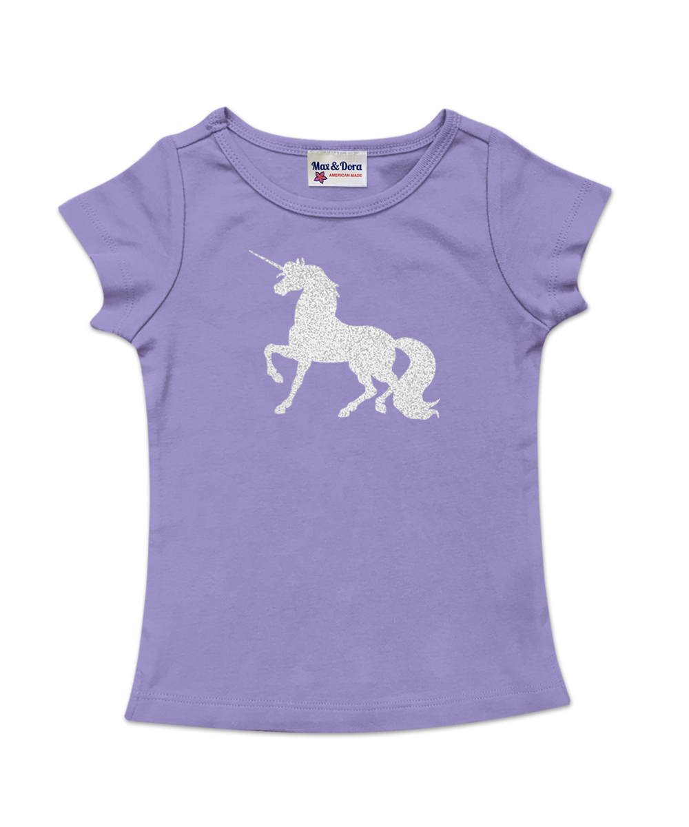 Cap Sleeve Silver Sparkle Unicorn Tee Available in 4 Colors