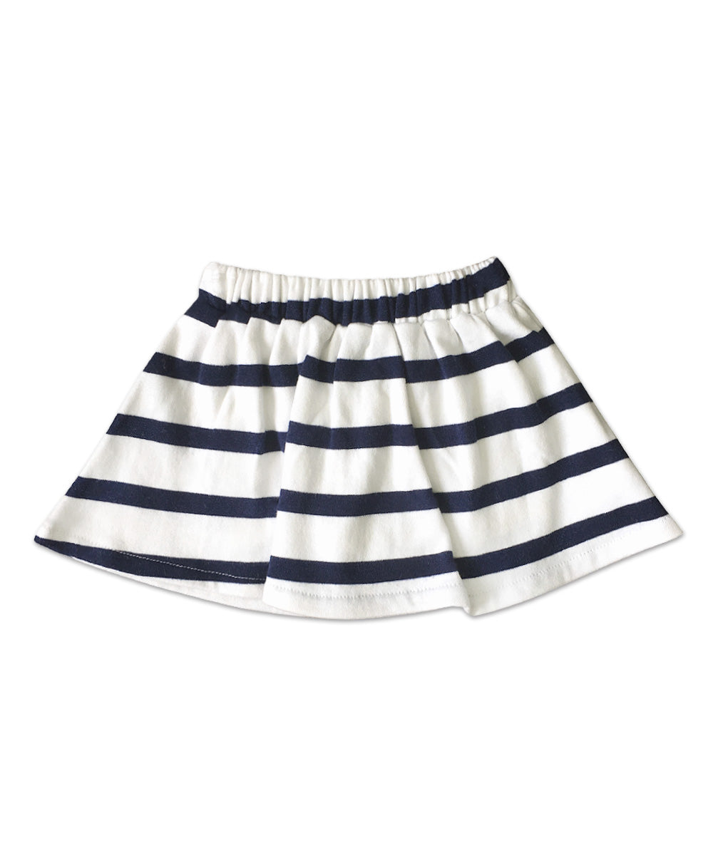 Chou Chou Navy and White Stripe Cotton French Terry Skort