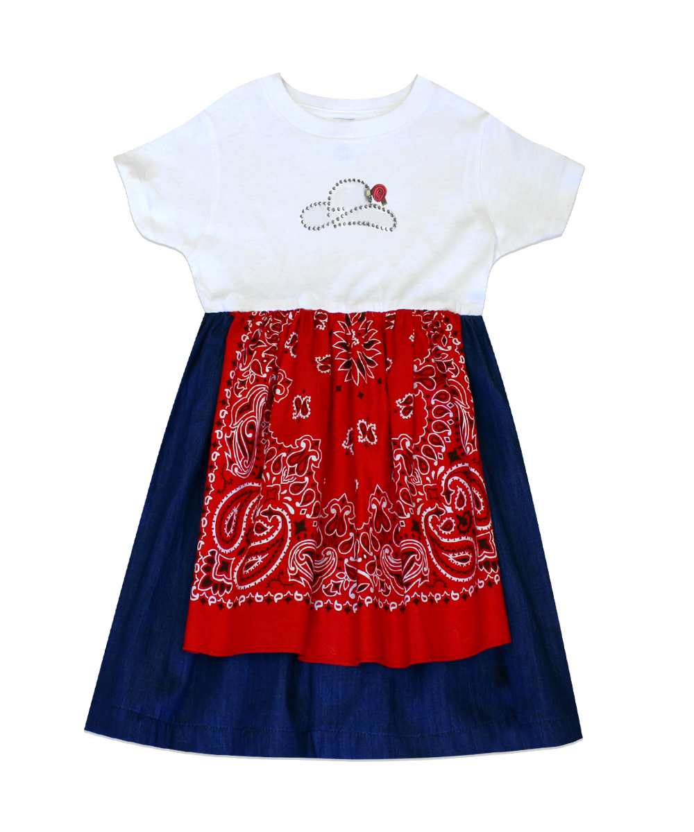 Dakota Red Bandana Tee Shirt Dress w/ Cowboy and Rose Applique
