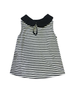 Danielle Charcoal Gray and Ivory Jersey Top with Black Collar