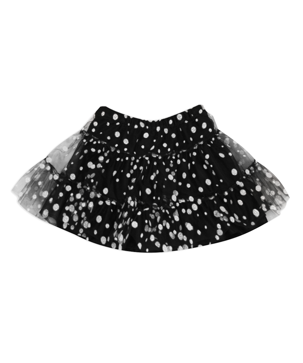 Evee Black/White Flocked Three Tier Petti Skirt