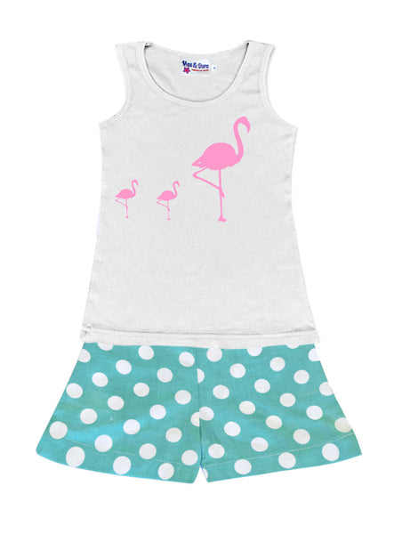 Flock of Flocked Flamingo's White Jersey Tank Top