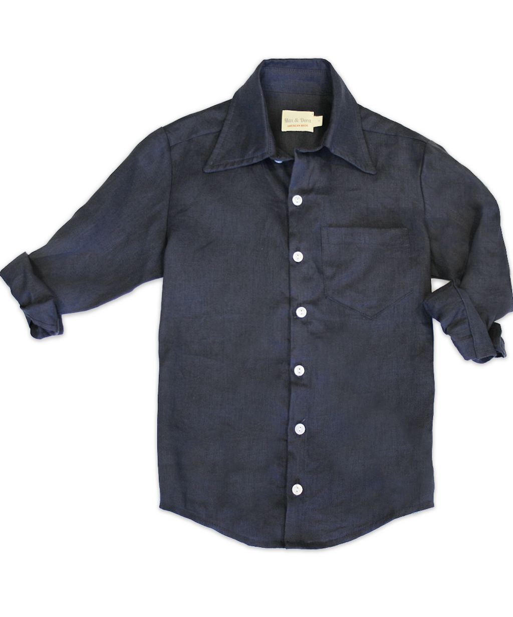 George Navy Linen Shirt
