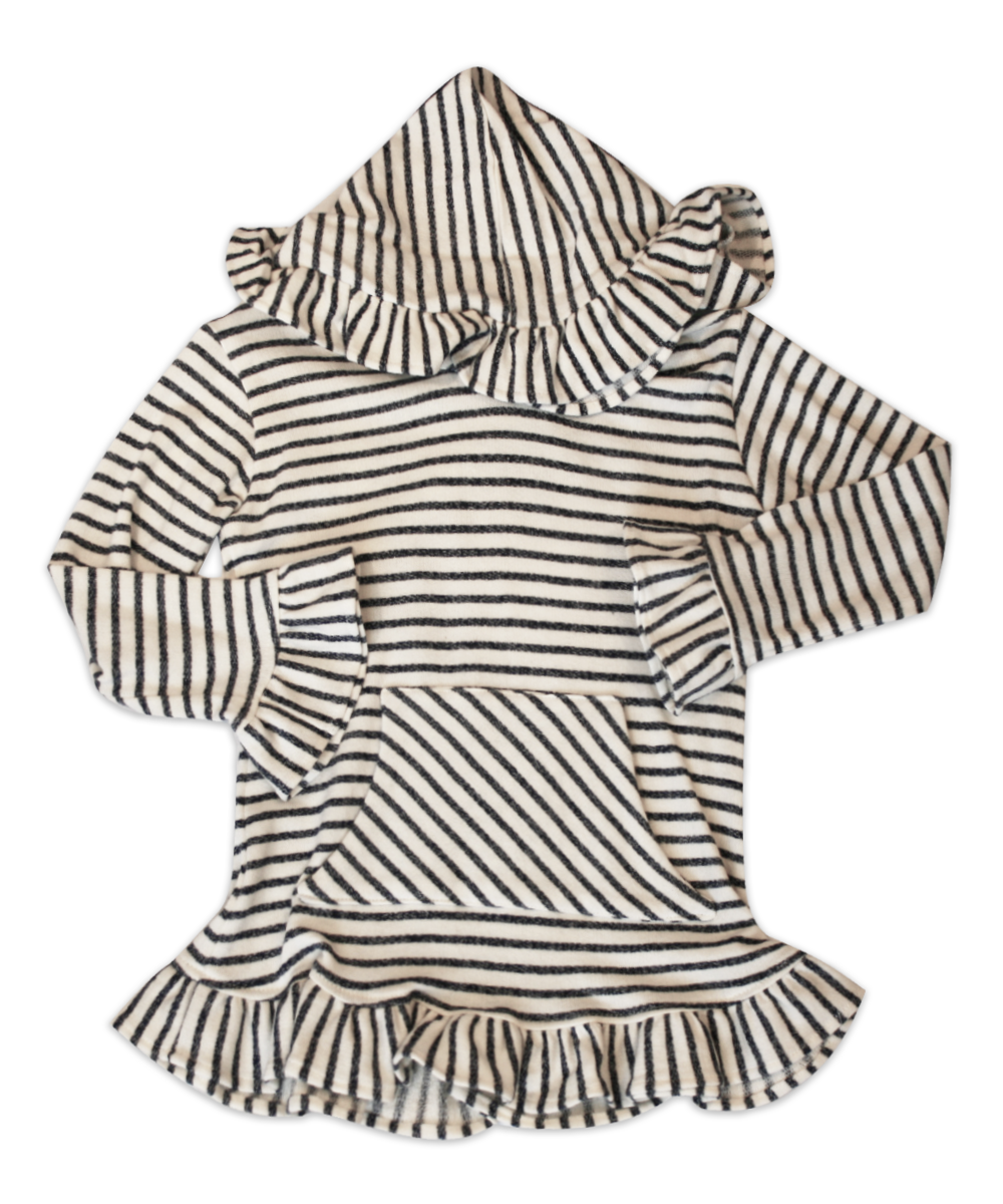 Skylar Hooded Charcoal Ivory Striped Tunic