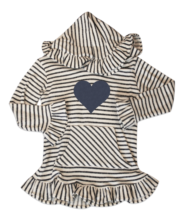 Skylar Charcoal and Ivory Stripe with Heart Applique