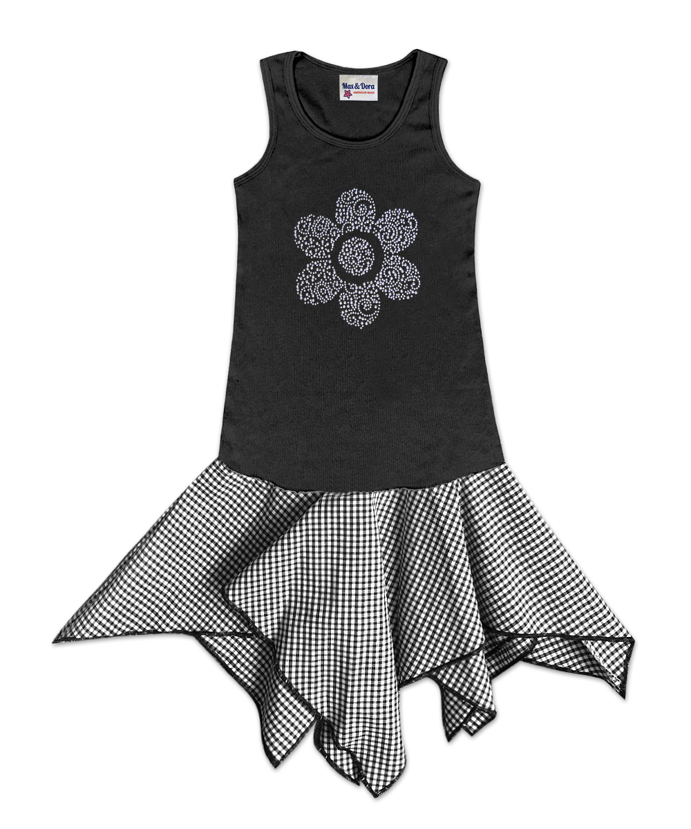 Hattie Black Handkerchief Dress with Rhinestone Flower