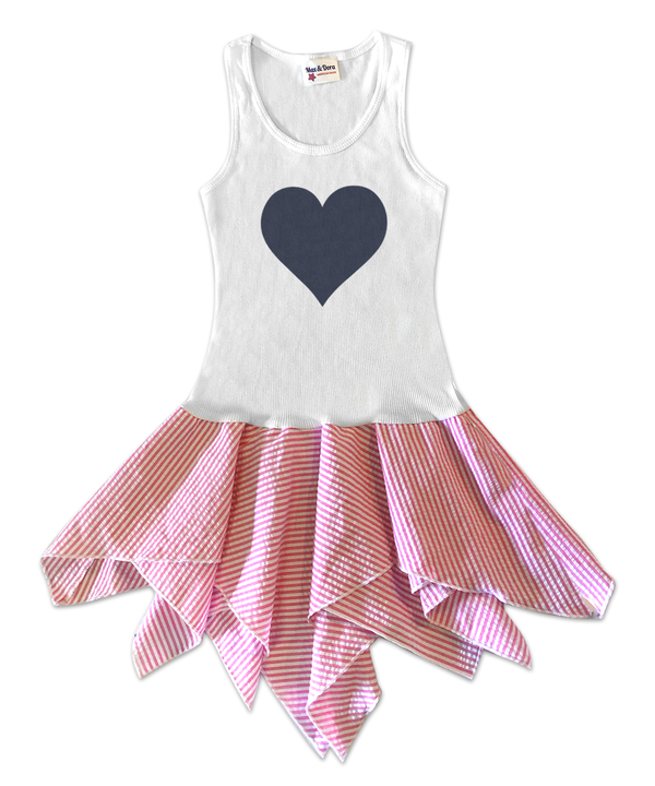 Hattie Pink Stripe Handkerchief Dress Denim Heart
