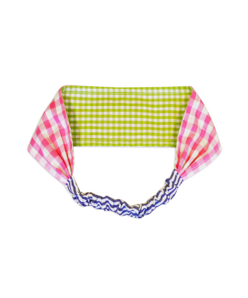 Pink and Green Check Reversible Headband