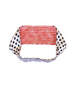 Reversible White Navy Dot and Red Check Headband