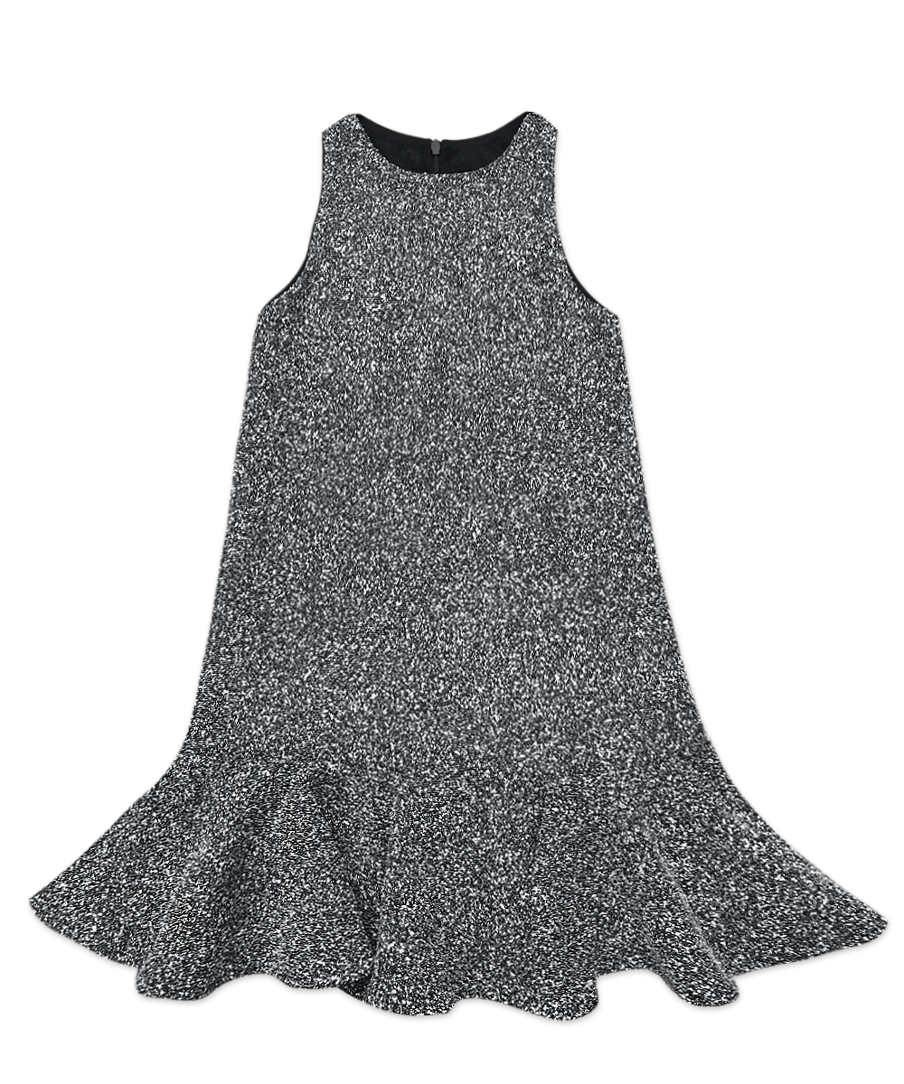 Isabella Black and White Boucle Flounce Dress