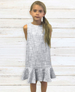 Isabella Blue and White Tweed Flounce Dress