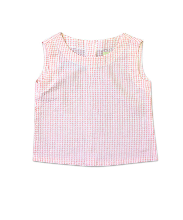 Jamie Pink Seersucker Sleeveless Top