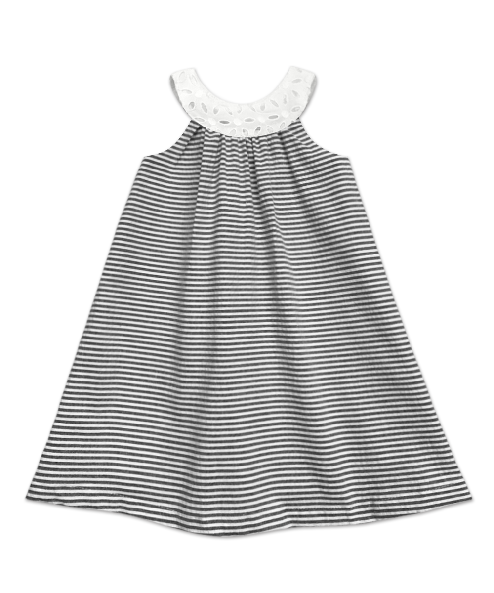 Joie Classic Simple Swing Dress Grey and White Stripe Seersucker