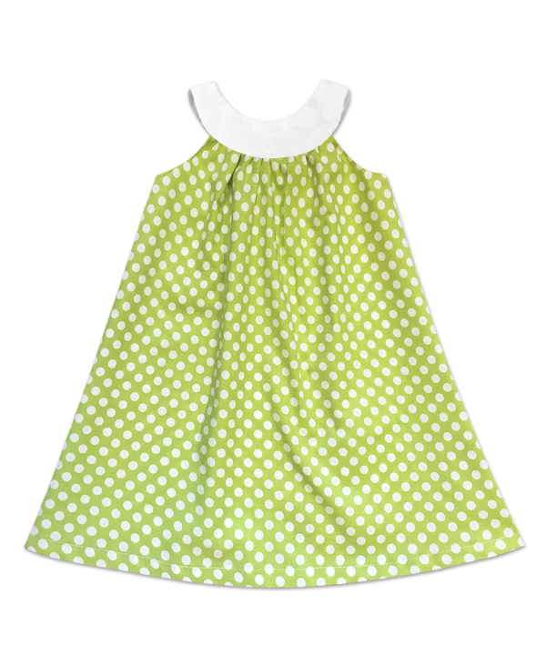 Joie Classic Simple Swing Dress  Lime Dot