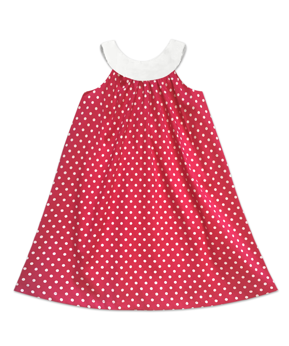 Joie Classic Simple Sleeveless Swing Dress Pink and White Dot