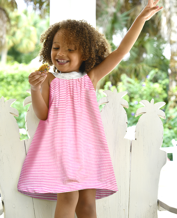 Joie Classic Simple Swing Dress Pink and White Stripe Seersucker